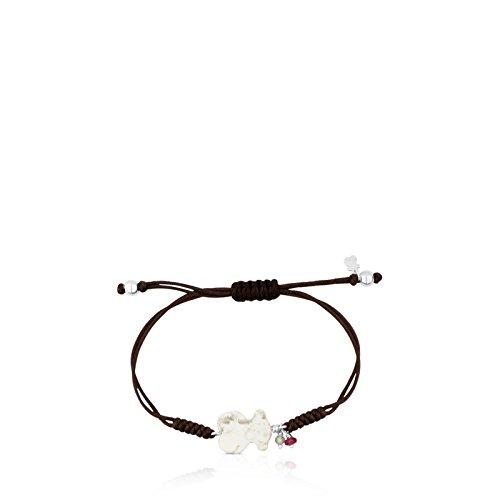 Imagen de tous pulsera ajustable new tibet de plata de primera ley y magnesita con rubí y apatito con cordón negro, oso 1,24 cm. alternativa