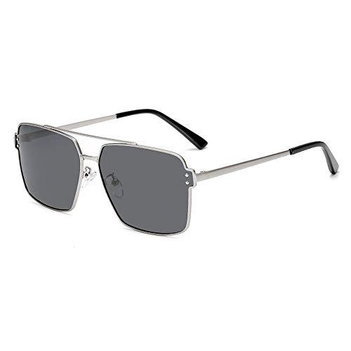 WooyMoo Rechteckige polarisierte Sonnenbrille für Männer, MetallRahmen Sport Sonnenbrille mit 100% UV-Schutz, Ultraleicht Retro Sonnenbrille