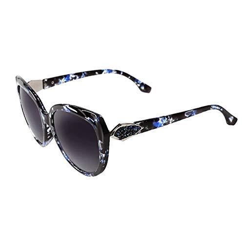 Yuany Sonnenbrille Goggle Driving Glasses MS Round Face Großer Rand Klassisch Retro Strass Dekoration Polarisiertes Licht Sonnenschutz Anti-UVA Anti-UV 100% (Farbe: Blau)