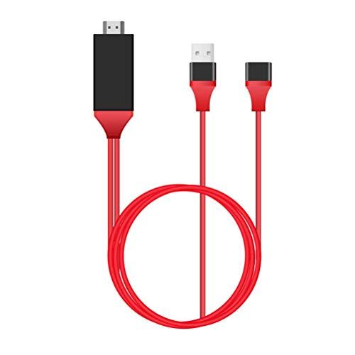 Hemobllo Adaptador de Cable USB a HDMI de 1M Adaptador de Video MHL HD Compatible con Dispositivos Android y Apple (Rojo)