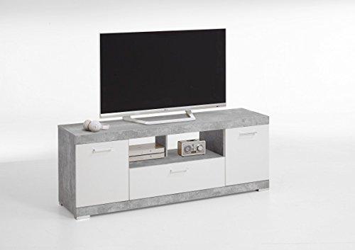 Dreams4Home TV-/HiFi-Lowboard 'Rino I' - TV Schrank, Fernsehschrank, HiFi-Schrank, TV-Regal, 2 Türen, 1 Schubkasten, 2 Einlegeböden, 1 offenes Fach, Maße: (B/H/T) 160 x 59 x 42 cm, Wohnzimmer, modern, Beton/Weiß, Melamin, Made in Germany