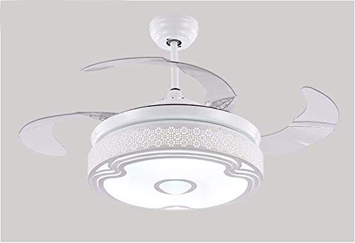 JFFFFWI Weißer hohler Entwurfs-Fan-Musik-Leuchter mit Ventilator Bluetooth LED, Restaurant-Deckenventilator mit hellem Dimmer-Wandsteuerungs-Durchmesser 107Cm Badezimmer-Belüftungs-Fan-Licht (Licht, Mit Badezimmer-ventilator Bluetooth)