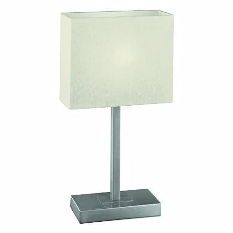 Eglo Tischleuchte Modell Pueblo 1 / in nickelmattem Stahl / Schirm in Textil beige / HV 1 x E14 max. 60W / exklusiv Leuchtmittel / Touch-Funktion / 26 x 10 x 48 cm / Sockelplatte 20 x 10 cm (1 Tischleuchte)