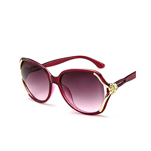 Sportbrillen, Angeln Golfbrille,NEW Flower Sunglasses Women Gradient Classic Vintage Ladies Oversized Sun Glasses UV400 Glasses Feminino Red