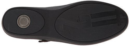 FitFlop F-Pop Leather, Mary Jane Femme Noir (All Black)