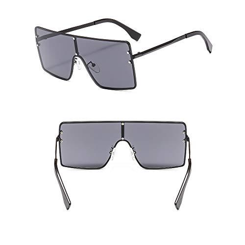 WJFDSGYG Männer Sonnenbrillen Top Einteilige Große Sonnenbrille Frauen Farbverlauf Druckbuchstaben Objektiv Sonnenbrille Metall Steampunk Hip Hop