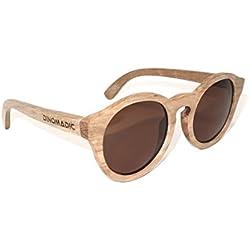 DINOMADic Gafas de Sol de Madera con Lentes Polarizadas para hombres y mujeres y Estuche de Bambú (Wen)
