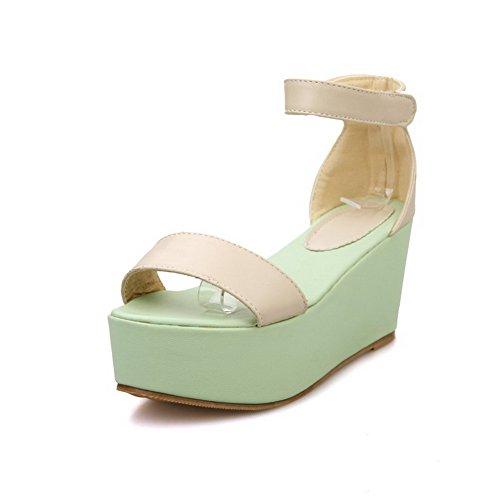 voguezone009-femme-couleur-unie-pu-cuir-talon-haut-velcro-ouverture-dorteil-sandales-vert-39
