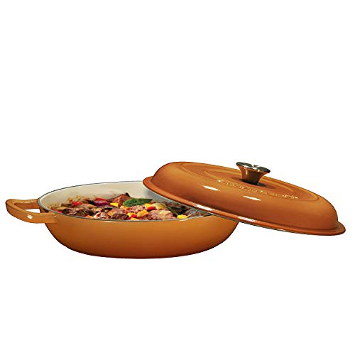 Emaillierter Schmortopf aus Gusseisen - Pfanne mit Deckel, 3,8 Quart, Marineblau 3.8 Quart Pumpkin Spice 4 Quart Braiser Pan