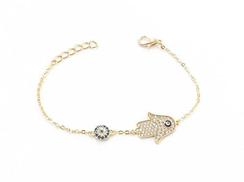 Remi Bijou Wunderschönes Armband Armkette Armkettchen - Fatimas Hand Fatma eli Buddha - Gold Farbe Strass - blaues Auge Nazar Boncuk Evil Eye