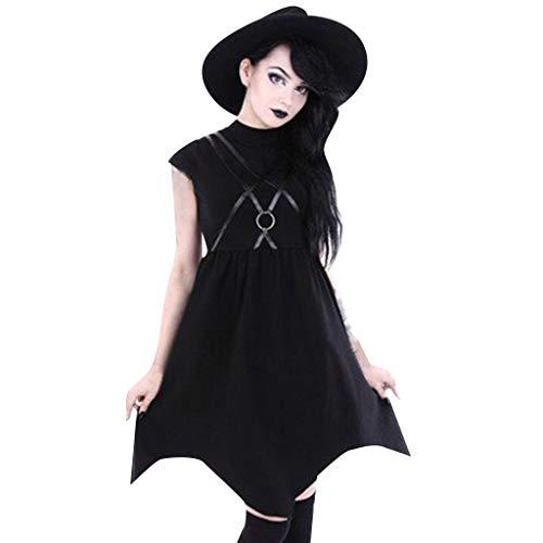 Mitlfuny Retro Rock Street Gothic Black Style Halloween Umhang Kostüme Vampir Kostüm Dracula, Frauen Sommer Schwarz Reißverschluss Kleid Gothic Street Punk Wind Cosplay (Baby Punk Rocker Kostüm)