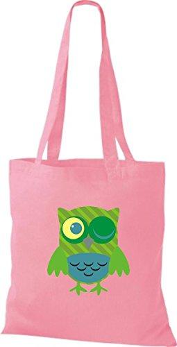 ShirtInStyle Jute Stoffbeutel Bunte Eule niedliche Tragetasche Owl Retro diverse Farbe, rosa