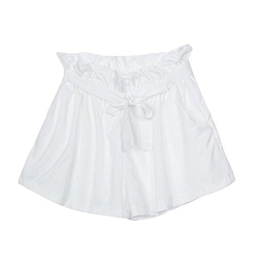 Amlaiworld Femmes en vrac à la mode Shorts femme avec ceinture Blanc