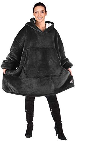 Kato Tirrinia Übergroße Sherpa Hoodie Sweatshirt Decke, weiche warme Riesen Hoodie Fronttasche Erwachsene Männer Frauen Jugendliche