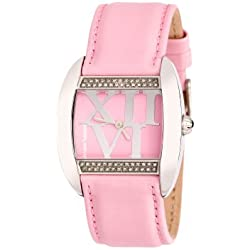 Bruno Banani Ladies Pink Stone encrusted Dial Watch with Pink Leather Strap