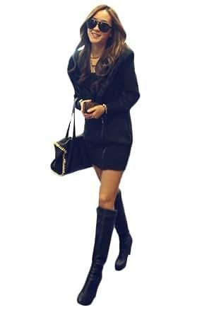 Farleen – Sweats Elégant à Capuche Manche Longue Manteau Pull Haut Veste Hoodie Coton Hiver– Femme (FR M 38 à 42 -Tour de poitrine 96cm, Noir Classique)