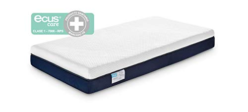 Ecus Care, Colchón de cuna antiasfixia, con certificado sanitario para prevenir la plagiocefalia, 120 cm x 60 cm.