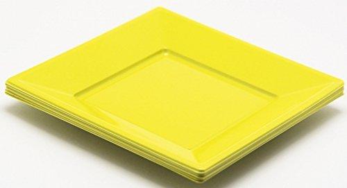 8 assiettes carrées plastique jaune 23x23 cm