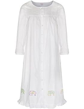 Mädchen Nachthemd 100% Baumwolle Elefanten Stickerei Nachthemd Nelly - Weiß, Age 8-9
