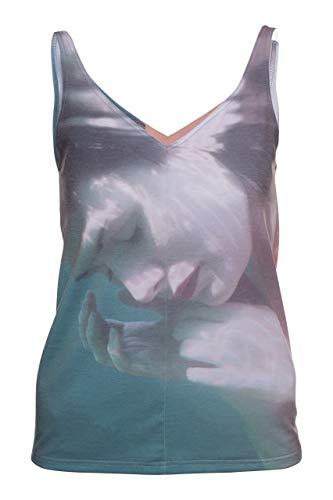 Schnitt Ärmelloses Shirt (RobeCode Damen Top Underwater - Jersey Shirt mit Fotodruck - Lockerer, fließender Schnitt, ärmellos, hüftlang - für Fitness, Sport, Laufen, Joggen, Zumba oder Yoga)