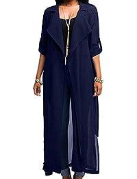 Mujer Suelto Blusa Cárdigan Color Sólido Chaqueta Manga Larga Cinturón Escudo
