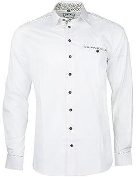 MADDOX Hemd 22 Weiß Rot Grün Blau mit Baumwolle Trachtenhemd