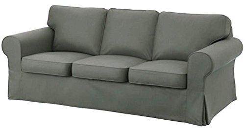 Custom Slipcover Copridivani Replacement La sostituzione Sofa Cover cotone pesante Ektorp 3 Sede è su misura per IKEA Ektorp Sofa Cover, un sostituto Ektorp Fodera Divano Scuro cotone grigio