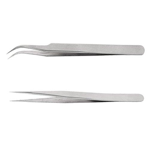 IPOTCH 2 Pièces Aiguille Eyelash Extension Tweezers False Eye Lash Straight Curved Set