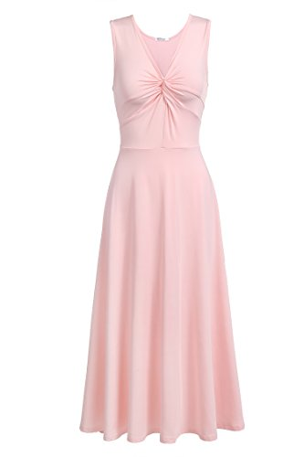 t Shirtkleid ohne Ärmel V-Ausschnitt Sommerkleid Abendkleid Festlich Swing Wickelkleid Wadenlang Hellrosa EU42 XL (Elegante Modeschmuck)