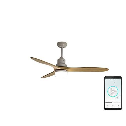 SPC Conforto AC - Ventilador Inteligente Wi-Fi Smart Compatible con Amazon Alexa y Google Home, Madera...