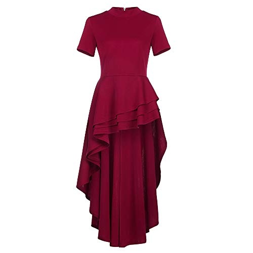 IMJONO Rock Women Short Sleeve High Low Peplum Dress Bodycon Casual Party Club Dress(XX-Large,Rot)