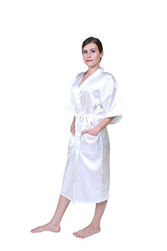 Keynis Damen Kimono lang Morgenmantel Satin Negligee Nachtwäsche Seidenrobe Weiß
