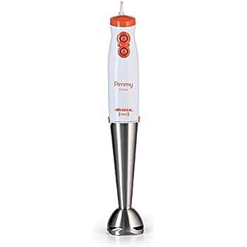 Ariete 881 Pimmy 200 - Frullatore ad immersione da 200 watt, Gambo staccabile in inox staccabile, Bianco/Arancio e Acciaio Inox