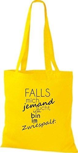 ShirtInStyle Stoffbeutel Baumwolltasche TYPO FALLS mich jemand sucht, ich bin im Zwiespalt., Farbe Weiss gelb