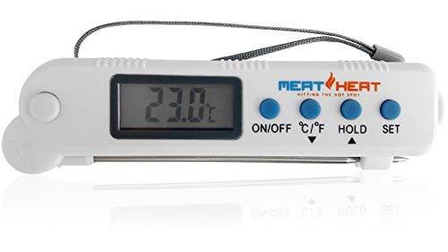 Digitales ausklappbares Edelstahl-Fühlerthermometer. Sofortige Temperatur Verwenden Sie für, Grillen, Braten. Einfach zu bedienen und sicher. Temperatur in ° C oder ° F auf dem LCD-Bildschirm. Temperaturalarm Batterien enthalten. -