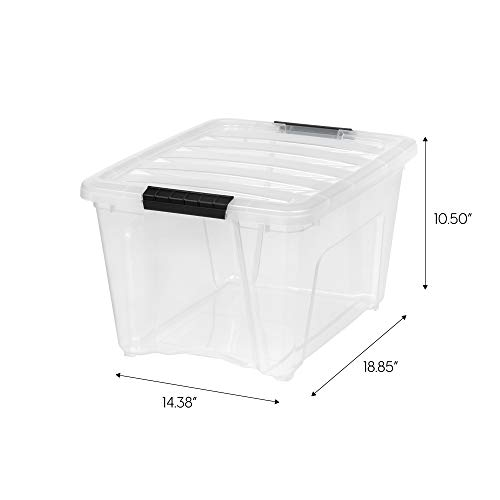 IRIS 588244 Stack & Pull Box, 31.75 Quart, Clear with Black Handle, 6 Pack