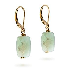 Amazonite Stein Ohrringe Baumeln Goldene Ohrringe für Frauen