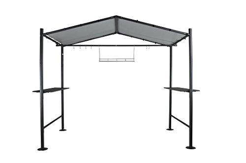 SORARA Grill Pavillon | Dunkel Grau | 265 x 150 cm PVC Dach | Grillzelt mit Tisch | Garten, BBQ,...
