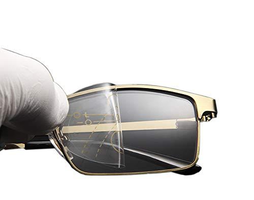 Yw-Grass ball Alte rahmenlose Lesebrille, Automatische Gradienten-Multi-Fokus-Hd-Objektiv-UV-Schutzbrille,100°