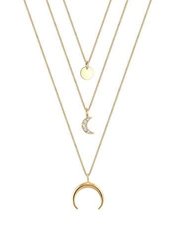 Elli Damen Halskette mit Halbmond Layer Anhänger Swarovski Kristalle in 925 Sterling Silber 45 cm lang