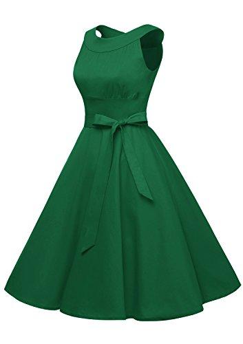 Timormode Sommerkleider 50er Retro Damen Rockabilly Kurz Vintage Kleid Ärmellos Swing Kleid Ballkleid Grün