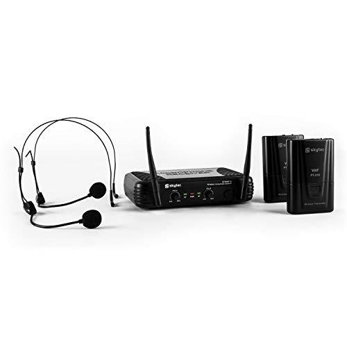 SkyTec STWM712H Système sans fil VHF 2 canaux avec serre-tête - 2 casques 2 émetteurs et un récepteur , Portée jusqu'à 50 mètres , Volume réglable depuis le récepteur