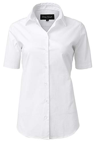 INFLATION Damen Kurzarmbluse für Freizeit und Büro Baumwolle Hemdbluse, Figurbetonte Bluse Businessbluse Arbeithemden Unifarben Weiß 44/18