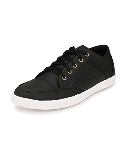 Knoos Men's Black Synthetic Leather Stumble Casual Shoes (CR-06, Size: 9 UK/IND)-CR-06-BL-9