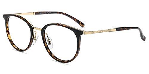Firmoo Runde Blaulicht Brille ohne Sehstärke Damen Leoparden, Retro Panto Blaulichtfilter Computer Brille gegen Kopfschmerzen, Entspiegelt, UV-Schutz, Kratzfest, Rahmenbreite 137mm