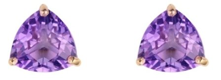 9ct Yellow Gold Real Amethyst Chequerboard Cut Trillion Stud