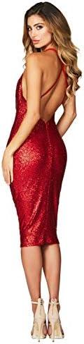 Generic Women's Red Seductive Sequin Midi Club Cocktail Dress, Small,