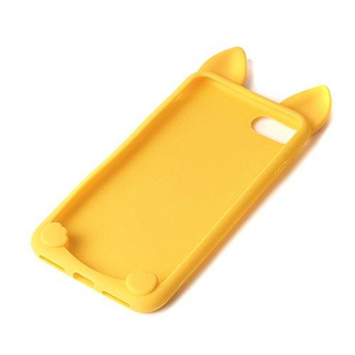 iPhone 5 Schutzhülle, elecfan® Leichtgewicht 3D Cartoon Nette Katze weichen Gel Hülle Tasche Wasserdicht Case Cover Schock Proof Schutzhülle für Apple iPhone 5s iPhone 5 Gelb