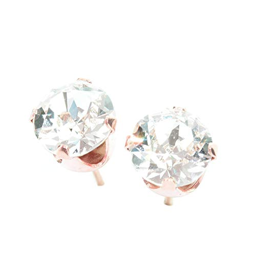 pewterhooter women's Rose gold stud earrings made with sparkling Diamond White crystal from Swarovski. Gift box…