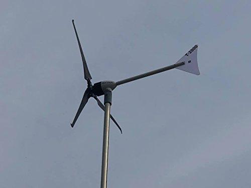 T-SERIE TREM ENERJI Windrad Windgenerator 1500 Watt/ 2000 Watt 24 V/48 2,10 m/1,70 m (Schwarze Rotorblätter)